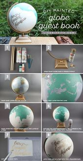The Perfect DIY Globe Guest Book for Your Travel Wedding Looking for a unique way to create some wedding memories with the people you love most? Have your guests sign this DIY globe guest book! Diy Wedding Favors, Wedding Crafts, Wedding Decorations, Diy Wedding Projects, Decor Wedding, Party Favors, Diy Projects, Globe Guest Books, Painted Globe