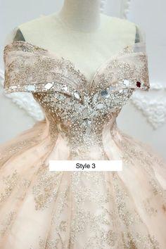 Rose Gold Sparkle Stylish Beaded Bodice Ball Gown Wedding | Etsy