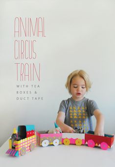 Um seriously, cutest thing ever! Make a toy train from tea boxes covered with colored duct tape!
