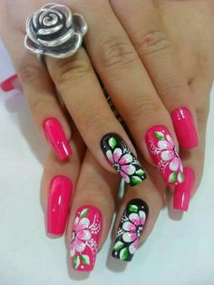 Perfect Colorful Floral Nail Design – 14 It's your turn to have great nails! Check out this year's most … Fabulous Nails, Gorgeous Nails, Neon Nails, Pink Nails, Cute Nails, Pretty Nails, Simple Acrylic Nails, Spring Nail Art, Diy Nail Designs