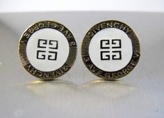 Givenchy Enamel Logo Earrings Haute Couture by TonettesTreasures