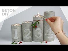 DIY//Beton Kerzenständer mit Zahlen Prägung | Adventskranz | concrete candle holders with embossing - YouTube
