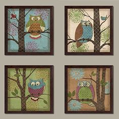 4 Whimsical Fantasy Owls in Trees Home Decor Art Prints, Brown Framed Prints Love Wall Art, Glass Wall Art, Unique Wall Art, Wall Art Decor, Canvas Wall Art, Framed Prints, Art Prints, Butterfly Wall Art, Pretty Room