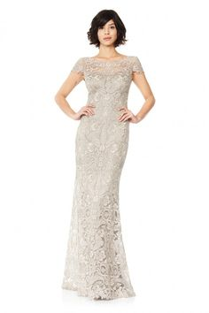 Corded Embroidery On Tulle Cap Sleeve Gown