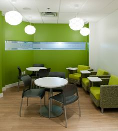 Our cafe space is great for a break-out space, or for casual team meetings over a cup of coffee.  (We can cater lunches too!!) #Steelcase