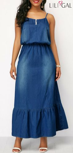 Spaghetti Strap High Waist Denim Dress - Trend Way Dress Women's Dresses, Cheap Blue Dresses, Tight Dresses, Dresses Online, Casual Dresses, Denim Dresses, Modest Fashion, Women's Fashion Dresses, Spandex Dress