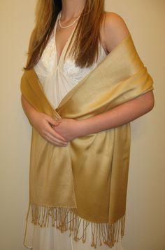Gold evening pashmina shawl $32.00 on sale