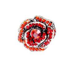 Pierścionek Vintage z Czerwonymi Kryształkami Róża #ring #vintage