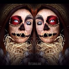 10 Spooky Makeup Looks for the Halloween Fanatic Scarecrow Halloween Makeup, Halloween Costumes Scarecrow, Theme Halloween, Cool Halloween Makeup, Scary Makeup, Creepy Halloween, Halloween Kostüm, Scarecrow Face Paint, Awesome Makeup