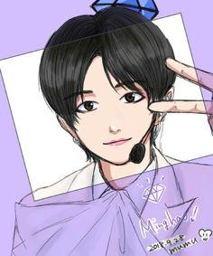 Morning Rain, Sunday Morning, Cartoon Fan, Diamond Life, Seventeen, Chibi, Jimin, Idol, Fan Art