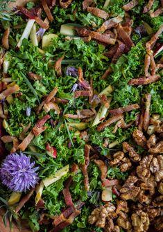 Kale Salad with Bacon, Apple & Fresh Herbs