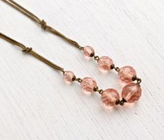 SALE Antique Pink Glass Bead Art Deco Necklace  by MaejeanVintage, $52.00