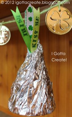 Giant Hershey kisses for St. Patrick's Day made from old soda bottles!