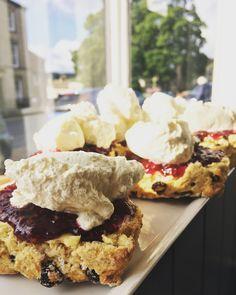 Fresh fruit scone, homemade raspberry jam and fresh cream from Humble Pie in Askrigg, Wensleydale