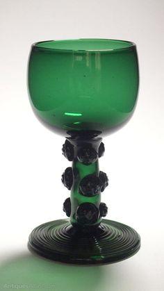Antiques Atlas - English Hollow Stem Bristol Green Wine Glass C1800