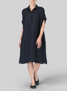 VIVID LINEN - Navy Blue Linen Oversized Monk Dress