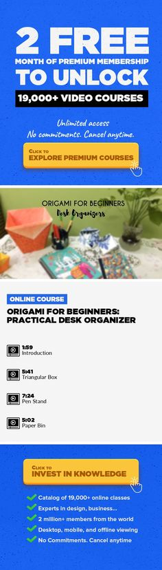 Origami for Beginners: Practical Desk Organizer Crafts, DIY, Lifestyle, Management, Origami, Creativity & Innovation, Paper Crafts #onlinecourses #onlinelearningillustration #learningactivities   Hey everyone! We are Jennifer and Shijo from Nimble Fingers and we are here to present you Origami for Beginners. Lot's of times we have people asking us practical uses for Origami so in today's class we...