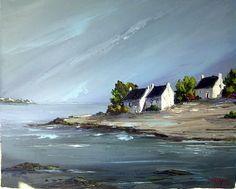 belle_bretagne - My CMS Watercolor Landscape, Landscape Art, Landscape Paintings, Watercolor Paintings, Watercolour, Boat Painting, Seascape Paintings, Art Deco Design, Pictures To Paint