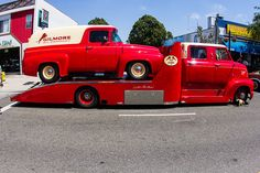 1953 Ford Cab Over Engine (COE) Crew Cab Hauler with 1956 Ford F-100 Panel Truck/Van by SteveWillard, via Flickr