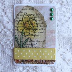 ACEO, Collage with Daffodil Illustration on Vintage Book Scrap £2.50