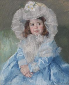 """Margot in Blue"" by American artist - Mary Cassatt Pastel on heavy paper with light canvas back, Dimensions unknown, Walters Art Museum - Baltimore, Maryland, USA. Edgar Degas, Most Famous Paintings, Famous Artists, Mary Cassatt Art, Berthe Morisot, American Impressionism, Impressionism Art, Georges Seurat, Impressionist Artists"