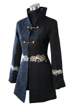 Black Traditional Winter Chinese Cotton Long Jacket