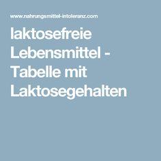 laktosefreie Lebensmittel - Tabelle mit Laktosegehalten