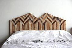tete de lit bois patine