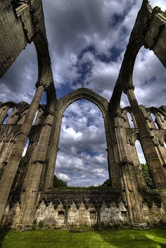 Fountains Abbey ruins, Yorkshire, UK