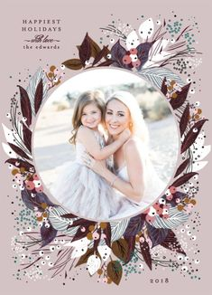 """""""Beautiful Bouquet"""" holiday photo card by Minted artist Phrosne Ras. A beautiful festive bouquet in non-traditional colors and a round photo frame to perfectly showcase your family photo. Christmas Photo Cards, Christmas Holidays, Holiday Cards, Christmas Decor, Xmas, Holiday Postcards, Holiday Photos, Mommy And Me Photo Shoot, Flower Bouquet Wedding"""