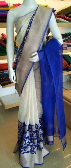 White and blue color superb Indian Attire, Indian Ethnic Wear, Indian Outfits, Trendy Sarees, Fancy Sarees, Traditional Sarees, Traditional Outfits, Jute, Elegant Saree