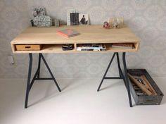 NIEUW houten bureau kinderbureau bureau met ijzeren poten