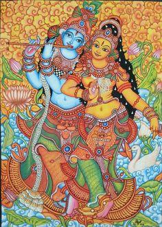 Mural paint Kerala Mural Painting, Krishna Painting, Indian Art Paintings, Madhubani Painting, Symbolic Art, Madhubani Art, Indian Folk Art, Mural Wall Art, Hindu Art