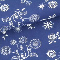 Biojersey Sewing flowers - blau
