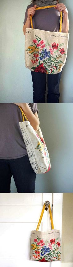 Learn how to make a DIY tote from a thrift store tea towel find. So easy, cute…
