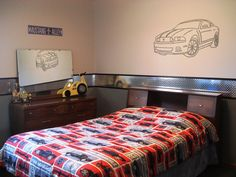 boy's car room with diamond plate