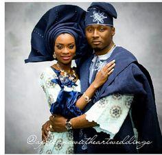 Stunning Yoruba Bride and Groom- Nigerian of course ! African Wedding Attire, African Attire, African Wear, African Women, African Fashion, African Shirts, Nigerian Outfits, Nigerian Bride, Nigerian Weddings