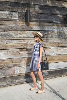 Gingham plaid summer dress, Chanel espadrilles, wide brim hat, Celine nano | Little Blonde Book