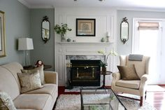 Love the color palette.  Wall color is Benjamin Moore Silver Sage.  Would work in our living room.