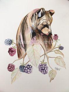 "PRINT Watercolor Painting - Bear in Berries - 8"" x 10"" | Wildlife | Bear | Floral | Flowers | Tattoo | Blackberries | Grizzly | Black Bear Tattoo Ideas, tattoo inspiration, nursery art, nursery decor"