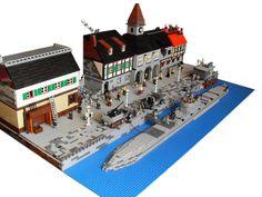 LEGO Ww2 Harbor Lego Ww2, Lego Army, Lego Kits, Lego Boards, Amazing Lego Creations, Lego Builder, Lego Construction, Lego Models, Lego Projects