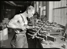 """1936. Mount Holyoke, Mass. """"Paragon Rubber Co. and American Character Doll. Building rubber doll moulds."""" Photo by Lewis Hine, who seems to have moved on to bigger things once he was done snapping newsies."""
