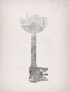 • drawing Illustration art city Key silhouette graphic design negative space Fleck fleck-tesseract •