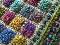"""Ravelry: knittermobile's Experimental Weaving on Knitting """"Just run a bit of yarn back forth on the knitted ground and then weave. The little woven square sits on top, anchored to the knitted ground at its edges."""""""