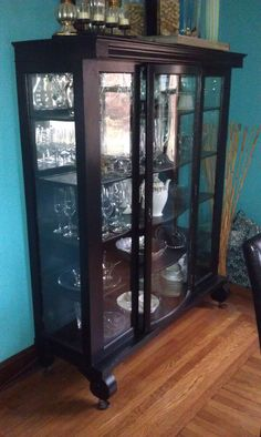 Black antique curved glass china cabinet by RestoredTreasuresllc, $325.00