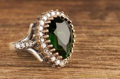 Hurrem Sultan Ring Tear Drop Emerald Color Ottoman Jewellery 925 Sterling Silver