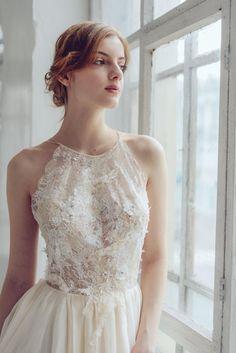 Ready to ship/ Silk wedding dress/ Melita/ Open back wedding gown, lace wedding dress, slit, ivory wedding dress, summer wedding dress Bridal Lace, Bridal Gowns, Wedding Gowns, Lace Wedding, Slit Wedding Dress, Lace Dress, Hippy, Marie, Ball Gowns