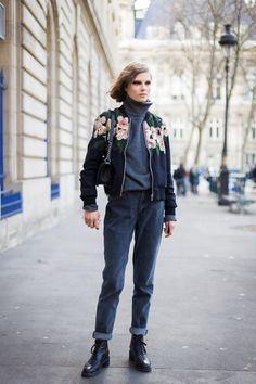 that killer bomber. #CarolineBraschNielsen #offduty in Paris.