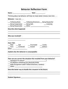 This slip can be used after the behavior contract as a way for the students to check their behavior. If a problem occurs, they can report their own behavior and list the steps they will take to come back from it. Behavior Reflection Sheet, Behavior Sheet, Behavior Contract, Behaviour Management, Classroom Management, Middle School Behavior, Student Behavior, Middle School Classroom, Classroom Behavior