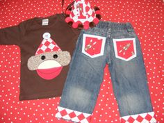 Sock Monkey Birthday Outfit shirt and jeans 2 piece set with personalization age and name. $55.00, via Etsy.